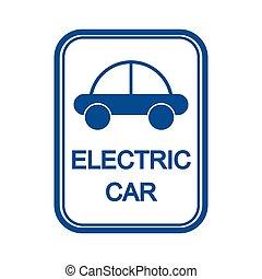zeichen, mit, der, bild, von, der, auto, und, der, inschrift, elektroauto