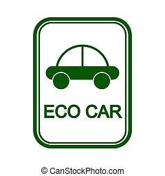 zeichen, mit, der, bild, von, der, auto, und, der, wörter, eco, auto