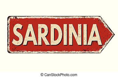 zeichen, rostiges , weinlese, metall, sardinien