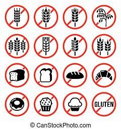 zeichen & schilder, gluten, frei, nein, weizen