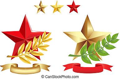 zeichen & schilder, satz, (stars, lorbeer, zweige, und, ribbons)