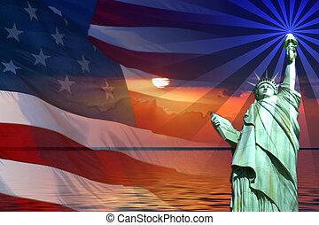zeichen & schilder, und, symbole, von, amerika