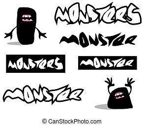 zeichen, schriftart, monster, gruselig