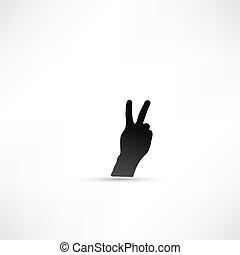 zeichen, sieg, gebärde, hand