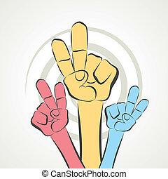 zeichen, sieg, hand, weisen