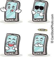zeichen, smartphone, satz, karikatur, sammlung
