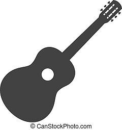 zeichen., symbol, gitarre, schablone, logo, ikone
