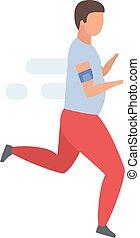 zeichen, verlieren, bemannen lauf, sportkleidung, athlet, sport, hintergrund., karikatur, jogging, übergewichtige , wohnung, mann, illustration., gewicht, übungen, vektor, morgen, freigestellt, jogger, weißes