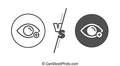 zeichen., vision., vektor, diopter, farsightedness, auge,...