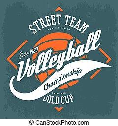 zeichen, volleyball, t-shirt, design, druck, sportkleidung