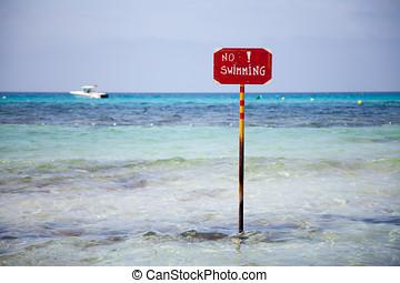 zeichen, von, nein, schwimmender, auf, a, mittelmeer, sandstrand