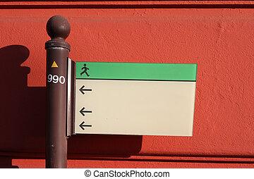 zeichen, vor, a, rote wand