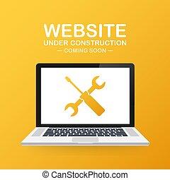 zeichen, website., abbildung, vektor, baugewerbe, laptop., website, unter