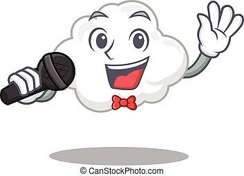 zeichen, wolke, mikrophon, weißes, karikatur, begabt, s�nger, besitz
