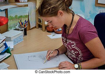zeichnet, bild, jugendliche