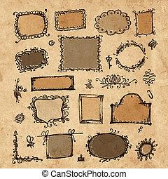 zeichnung, dein, skizze, design, hand, rahmen