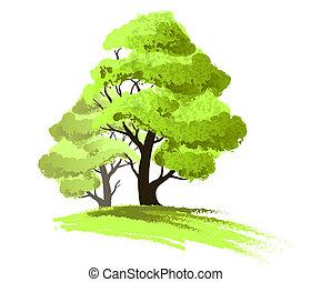 zeichnung, freigestellt, bäume, zwei