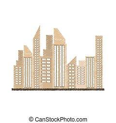 zeichnung, gebäude, stadt, real estate