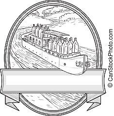 zeichnung, gin, binnenschiff, fluß, flaschen, oval