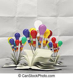 zeichnung, idee, bleistift, und, glühlampe, begriff, draußen, der, buch, auf, zerknittertes papier, als, kreativ, begriff