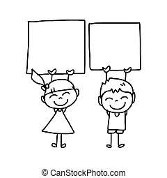 zeichnung, kinder, karikatur, hand, glücklich