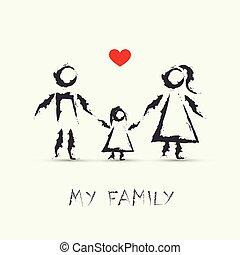 zeichnung, mein, kinder, familie, glücklich