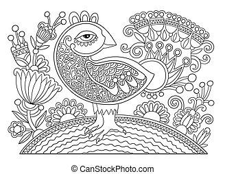zeichnung, seite, von, farbton- buch, vogel, und, blume