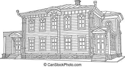 zeichnung, skizze, von, a, house., vektor, illustration.