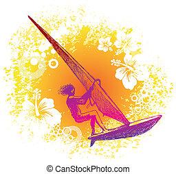 zeichnung, surfer