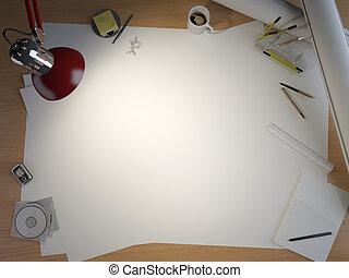 zeichnung, tisch, mit, elemente, und, kopieren platz