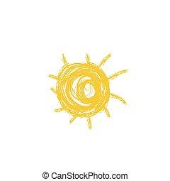 zeichnung, von, sun., vektor, abbildung