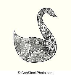 zeichnung, zentangle, für, schwan, erwachsener, färbung, seite