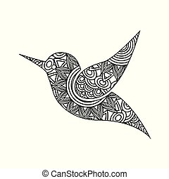 zeichnung, zentangle, für, vogel, erwachsener, färbung, seite