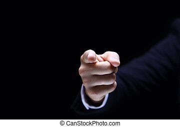 zeigefinger, auf, schwarzer hintergrund