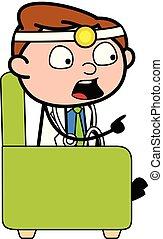 zeigen, doktor, -, abbildung, sprechende , vektor, finger, professionell, karikatur