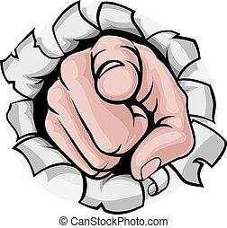 zeigen finger, karikatur, hand, durchbruch