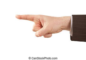 zeigen finger, von, freigestellt, geschäftsmann, hand