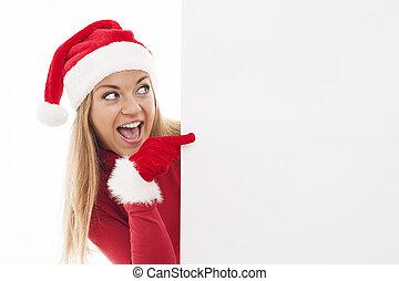 zeigen, frau, weihnachten, copyspace