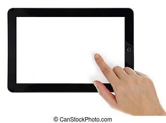 zeigen, tablette, schirm, freigestellt, hand, weibliche , ...