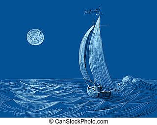 zeil, maanlicht, zee, nacht, scheepje, aanzicht