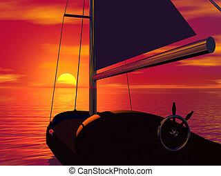 zeilboot, en, ondergaande zon
