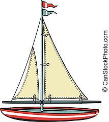 zeilboot, kunst, scheepje, klem, zeilend