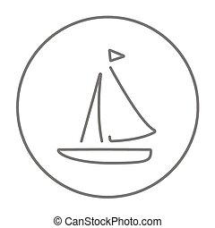 zeilboot, lijn, icon.