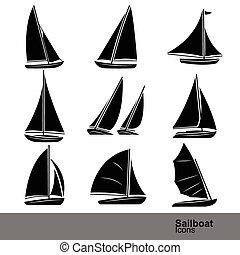 zeilboot, lijn, set, pictogram