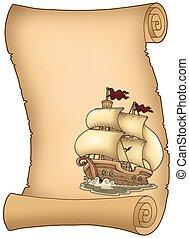 zeilboot, oud, boekrol