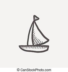 zeilboot, schets, pictogram