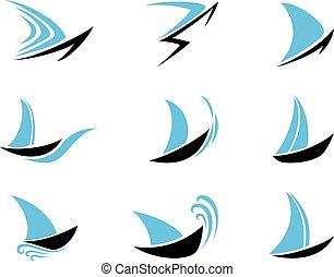 zeilboot, set, iconen