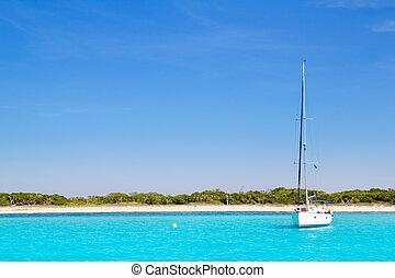 zeilboot, turkoois, formentera, strand