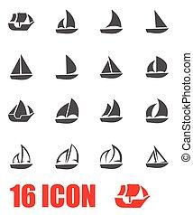 zeilboot, vector, set, grijze , pictogram