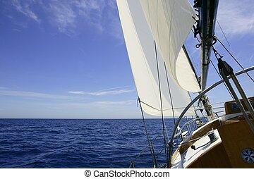 zeilboot, zeilend, blauwe , zee, op, zonnig, zomer dag